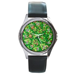 Green Holly Round Metal Watch