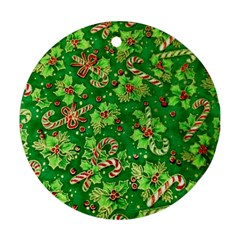 Green Holly Ornament (Round)