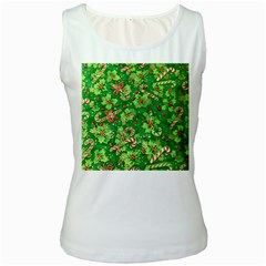 Green Holly Women s White Tank Top