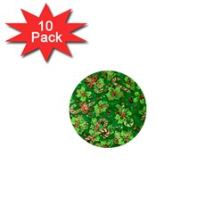 Green Holly 1  Mini Buttons (10 Pack)