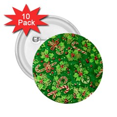 Green Holly 2.25  Buttons (10 pack)