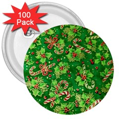 Green Holly 3  Buttons (100 pack)