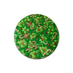 Green Holly Rubber Round Coaster (4 pack)