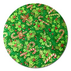 Green Holly Magnet 5  (Round)