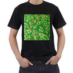 Green Holly Men s T-Shirt (Black) (Two Sided)
