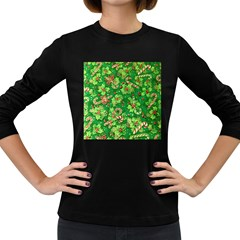 Green Holly Women s Long Sleeve Dark T Shirts