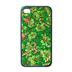 Green Holly Apple iPhone 4 Case (Black)