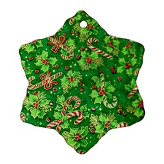 Green Holly Snowflake Ornament (two Sides)