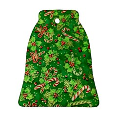 Green Holly Bell Ornament (Two Sides)