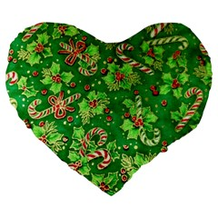 Green Holly Large 19  Premium Heart Shape Cushions