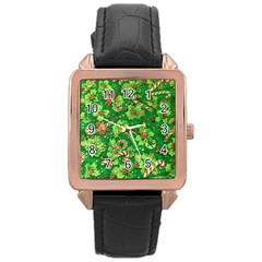 Green Holly Rose Gold Leather Watch
