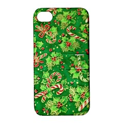 Green Holly Apple Iphone 4/4s Hardshell Case With Stand