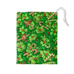 Green Holly Drawstring Pouches (large)