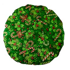 Green Holly Large 18  Premium Flano Round Cushions