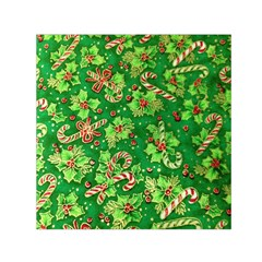 Green Holly Small Satin Scarf (square)