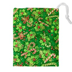 Green Holly Drawstring Pouches (XXL)