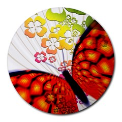 Greeting Card Butterfly Kringel Round Mousepads