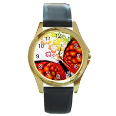 Greeting Card Butterfly Kringel Round Gold Metal Watch