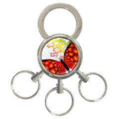 Greeting Card Butterfly Kringel 3-Ring Key Chains