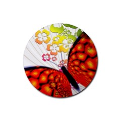 Greeting Card Butterfly Kringel Rubber Round Coaster (4 Pack)