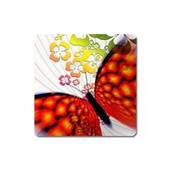 Greeting Card Butterfly Kringel Square Magnet