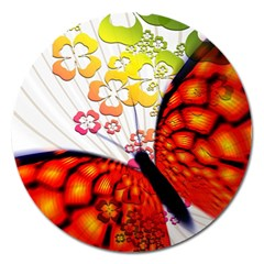Greeting Card Butterfly Kringel Magnet 5  (Round)