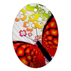 Greeting Card Butterfly Kringel Oval Ornament (Two Sides)