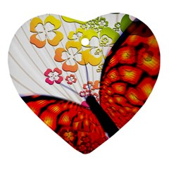 Greeting Card Butterfly Kringel Heart Ornament (Two Sides)