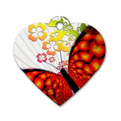 Greeting Card Butterfly Kringel Dog Tag Heart (Two Sides)