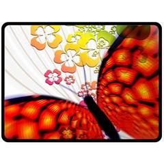 Greeting Card Butterfly Kringel Fleece Blanket (Large)