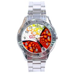 Greeting Card Butterfly Kringel Stainless Steel Analogue Watch