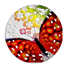 Greeting Card Butterfly Kringel Round Filigree Ornament (two Sides)