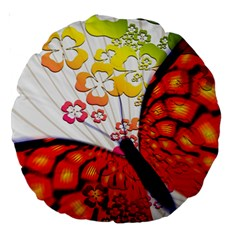Greeting Card Butterfly Kringel Large 18  Premium Round Cushions
