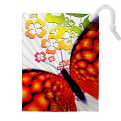 Greeting Card Butterfly Kringel Drawstring Pouches (XXL)