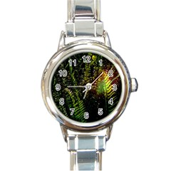 Green Leaves Psychedelic Paint Round Italian Charm Watch