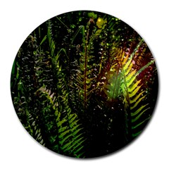 Green Leaves Psychedelic Paint Round Mousepads