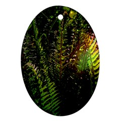 Green Leaves Psychedelic Paint Ornament (Oval)