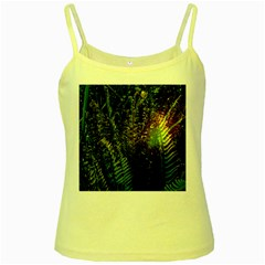 Green Leaves Psychedelic Paint Yellow Spaghetti Tank