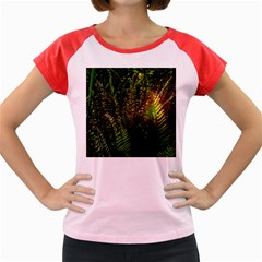 Green Leaves Psychedelic Paint Women s Cap Sleeve T-Shirt