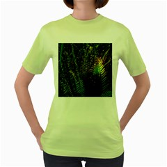 Green Leaves Psychedelic Paint Women s Green T-Shirt