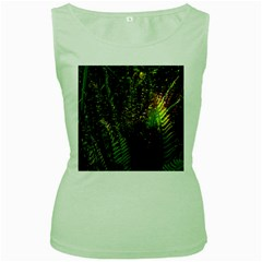Green Leaves Psychedelic Paint Women s Green Tank Top