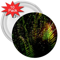 Green Leaves Psychedelic Paint 3  Buttons (10 Pack)
