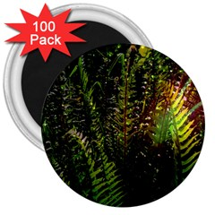 Green Leaves Psychedelic Paint 3  Magnets (100 pack)