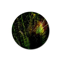 Green Leaves Psychedelic Paint Rubber Coaster (Round)