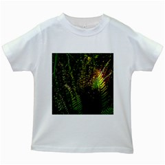 Green Leaves Psychedelic Paint Kids White T Shirts