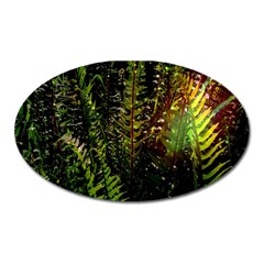Green Leaves Psychedelic Paint Oval Magnet
