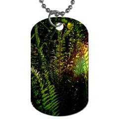 Green Leaves Psychedelic Paint Dog Tag (one Side)