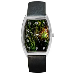 Green Leaves Psychedelic Paint Barrel Style Metal Watch