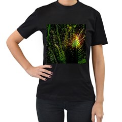 Green Leaves Psychedelic Paint Women s T-Shirt (Black) (Two Sided)
