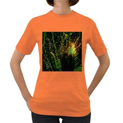 Green Leaves Psychedelic Paint Women s Dark T-Shirt